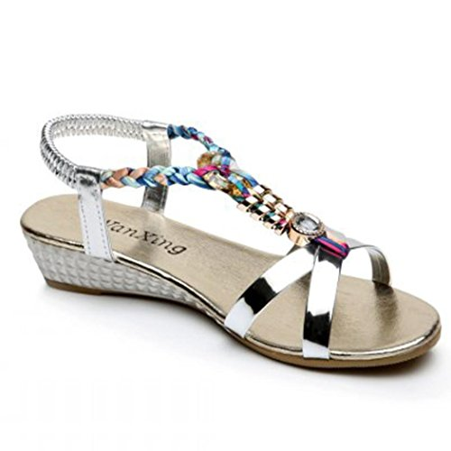 Perlen Sandalen Damen, DoraMe Frauen Sommer Strass Flachen Slipper Mode Casual Clogs Bequeme Strandschuhe Neue Pantoletten Neue Loafers Schuhe (40, Silber) (Schwarze Sandale Neue)
