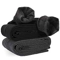 XDDIAS Winter warme legging, 2 paar fluwelen elastische strakke broek voor vrouwen, meisjes hoge taille super dikke legging broek, zwart en grijs