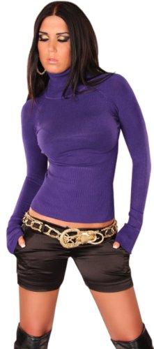 Dans le style pull à col roulé et manches longues pour femme Violet - Violet