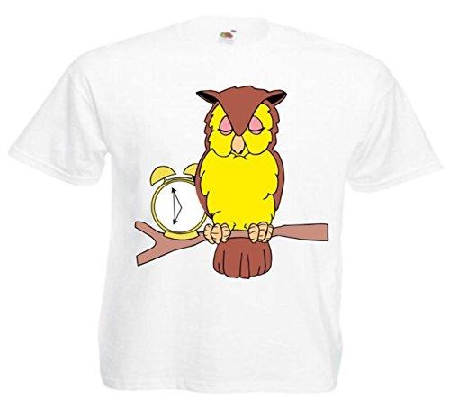 Motiv Fun T-Shirt Eule mit Uhr Wecker Cartoon Comic Zeichentrick Motiv Nr. 11621 Weiß