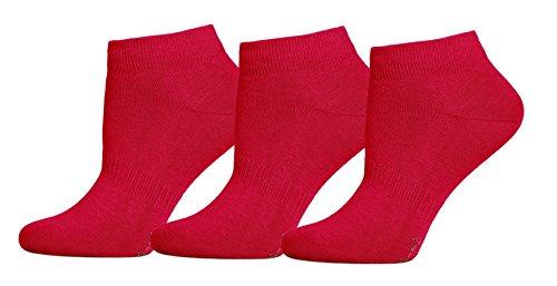 3er Pack Sneaker Socken Rot, 43-46 (Socken Pack Knöchel)