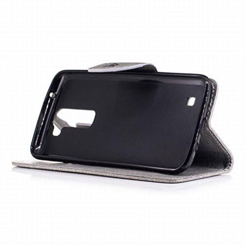 Custodia LG K8 Cover, Ougger Farfalla Stampa Portafoglio PU Pelle Magnetico Morbido Silicone Flip Bumper Protettivo Gomma Shell Borsa Custodie con Slot per Schede (Blu) Grigio