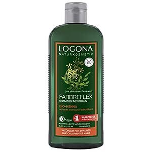 Logona cosmetici naturali di colore marrone rosso Reflex Shampoo Bio di Henna, protezione del colore per capelli tinto naturalmente Rosso/Marrone, rivitalizza l' intensità di colore, con Estratti Bio, 250ML