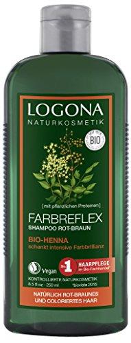 LOGONA Naturkosmetik Farbreflex Shampoo Rot-Braun Bio-Henna, Farbschutz für natürlich rot-braunes/gefärbtes Haar, Belebt die Farbintensivität, Mit Bio-Extrakten, 250ml (Lebendige Shampoo Glanz)
