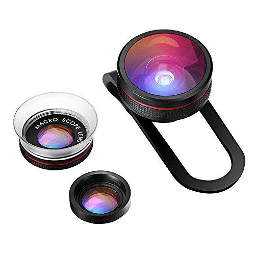 VicTsing Clip-On Fisheye Fischauge Objektiv + 12X Micro Objektiv + 24X Super-Makro-Objektiv 3 in 1 Kamera Adapter Kit für Handy Smartphones iPhone 6S 6 Plus 5 5S