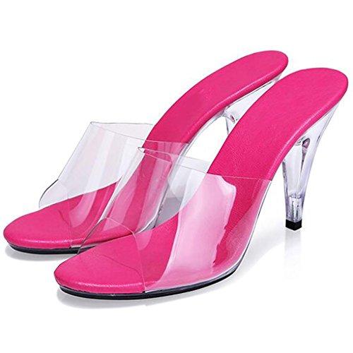 W&LMTrasparente Scarpe di cristallo Pantofole da portare temperamento sandali Tacchi alti Fine con sandali Scarpe all'aperto rose red 7cm