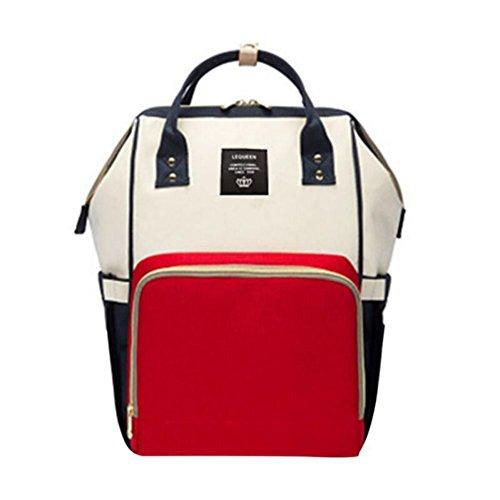 Baby Windel Wickeltasche, Baywell Gestreift Multifunktionale Große Kapazität Wasserdichte Rucksack Handtasche (Rot und Blau)