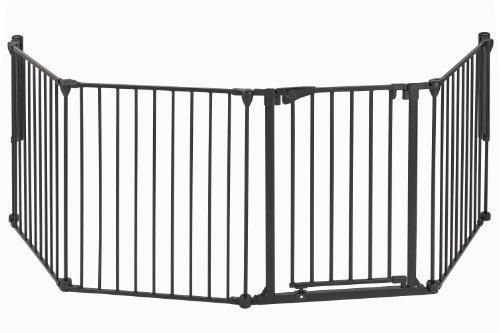 Impag Kaminschutzgitter Absperrgitter Raumteiler Laufgitter mit Tür 6 Größen 3 tlg. - 7 tlg. 190 - 490 cm 4 schwarz -