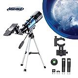 Aomekie Astronomisches Teleskop Kinder Einsteiger 70/300 Refraktor Teleskop mit Smartphone Adapter Aluminium Stativ Barlow und Umkehrlinse um Himmelsbeobachtung