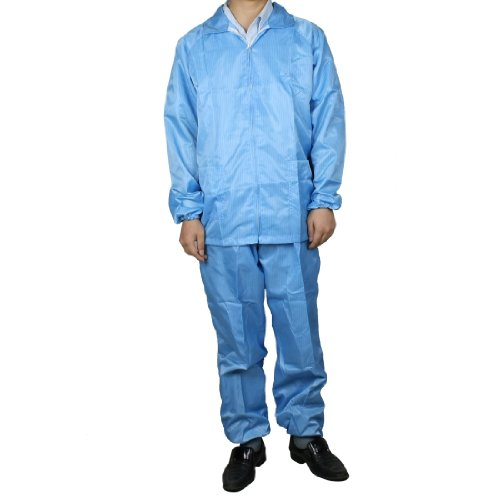 sourcingmap® Herren Frauen blauer Streifen antistatisch Overall Uniform Arbeitsanzug M