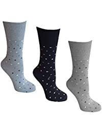 Womens Socks, Soft cuff, 3 Pairs of Assorted Spotted socks, 4-8 UK, 37-42 EU, Light Hold honeycomb top, ideal elastic free Diabetic Socks