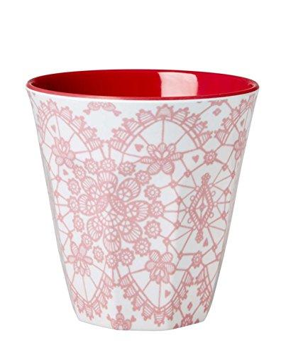 Melamin Medium Cup Zwei Ton Lace Print coral von Rice DK - Kleine Ton-cups