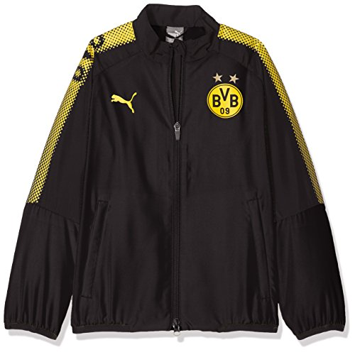 Puma Kinder BVB Leisure Jkt Without Sponsor Logo with 2 Side Pockets Wit Jacke, Black, 128 (Puma Kids Form)