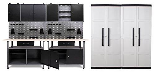 Ondis24 Werkstatteinrichtung - 240 cm - 6 teilig, Set inklusive 2 x Comfort XL Schrank, bestehend aus 2 x Werkbank, 3 x Werkzeugschrank, Euro-Lochwand mit 22 Haken