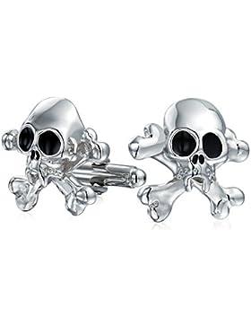 Bling Jewelry Stahl verchromt Mens Biker Pirat Totenkopf Manschettenknöpfe