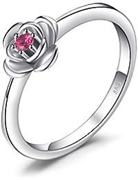 JewelryPalace Anillo Promesa Amor Rosa Rubí Creado circular en palta de ley 925