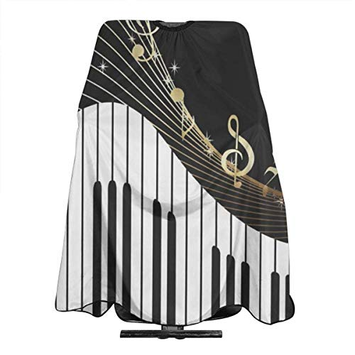Just Relax Shop Haarschneideumhang mit goldenen Musiknoten und Klavier-Überzug für Friseursalon, Friseurschürze, 139,7 x 167,6 cm