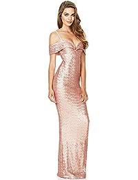 073517fbba031 Wagyunfei Prom Elegante Serata Vestito da Donna Lungo con Scollo a  Barchetta con Paillettes e Paillettes Abito da…