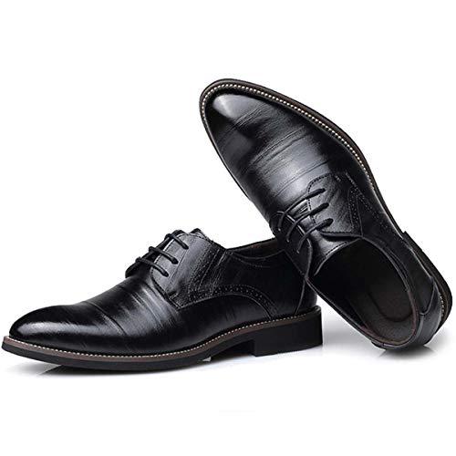 Genuine Leather Men's Dress Shoes British Style Fashion Lace Up Shoes Formal Oxford Classic Gentleman Shoes Plus Size 37-47 Black 6