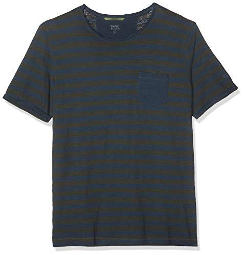 camel active Herren Stripe TS T-Shirt, Blau (Steel Core 12), X-Large (Herstellergröße: XL)