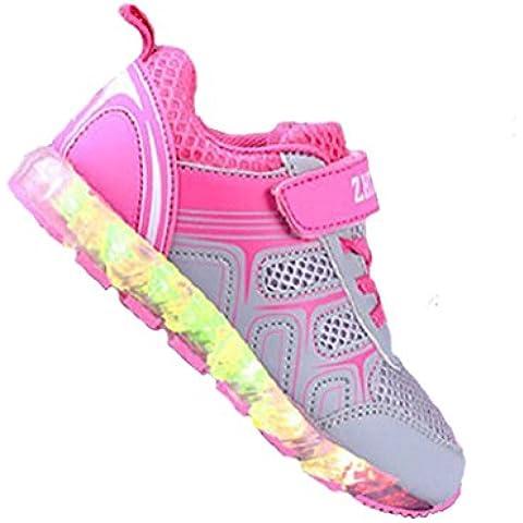 [zapatos led niños] Kidslove Zapatillas led niño Zapatos LED niña brillo led Zapatilla de la moda Zapatos con LED 7 colores Zapatos casuales para niños USB Carga Sneakers infantiles deportes