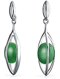 Bling Jewelry Cage Gemstone Dyed Green Jade Dangle Earrings Round 925 Sterling Silver