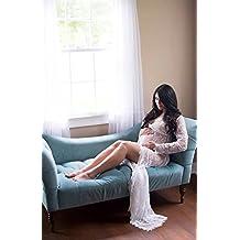 NiSeng Mujer Embarazada Encaje Manga Larga Vestido Larga Vestidos de Maternidad Fotografía Props Disfraz Apoyo Fotográfico para Mujeres Embarazadas