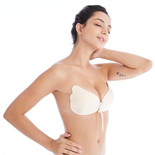 BodyCode Klebe Push Up BH - Frauen Trägerloser BH, NuBra mit Tunnelzug, Sexy Silikon unsichtbar BH, Rückenfreier Bra, Rutschfest für Brautkleider, Ballkleider, Bikinis und Low-Cut-Tops (Beige, B)