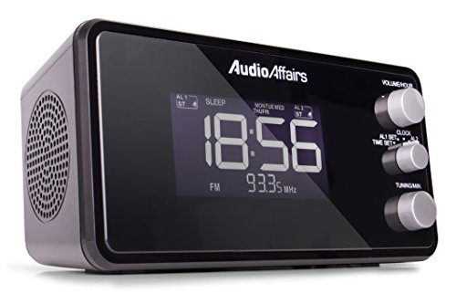 Preisvergleich Produktbild AudioAffairs Radiowecker mit PLL UKW Lautsprecher,  2 Weckzeiten mit Snooze-,  Nap- und Sleep-Timer,  Schwarz - Nur erhältlich auf Amazon.de