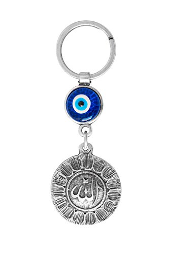 Remi Bijou Schlüsselanhänger VERSILBERT Allah Symbol Islam Türkisches Nazar Boncuk Glücksbringer