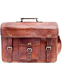 4a266a0f2626 Barello Unisex Leather Bag Handmade Real Leather Satchel Laptop Bag 16