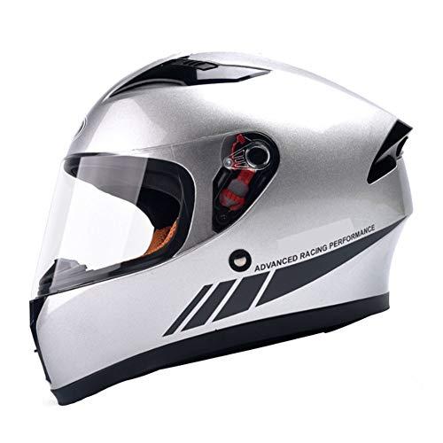 CASQUE FAFY De Moto De Compétition Professionnel, Lentille d'usure Double écran Anti-poussière Anti-poussière Anti-poussière Intégral,Silver