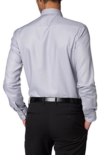 Eterna Long Sleeve Shirt Slim Fit Twill Structured Grigio