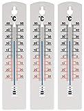 Lantelme 7942 Lot de 3 thermomètres analogiques pour l'intérieur et l'extérieur Blanc 20 cm 34 à...