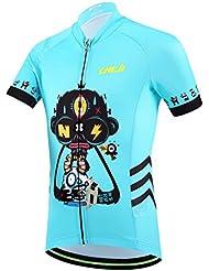 FreeFisher azul-negro Jersey infantil de ciclo respirable fresco ropa maillot de ciclismo para niños