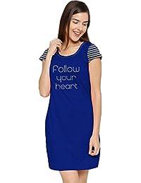 So Sweety Women's Cotton Night Sleepwear Winter T Shirt Dark Blue Dress