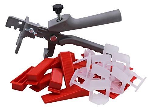 Bauhandel24 - Fliesenverlegehilfe Set 2mm, 201-teiliges Nivelliersystem, Verlegehilfe Fliesenkeile, Zuglaschen, Fliesen Werkzeug
