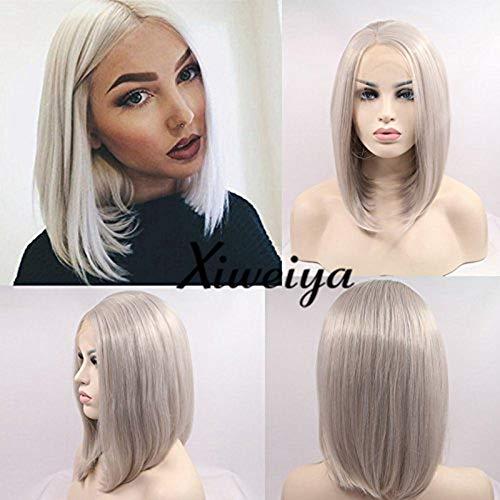 Aspect naturel Gris argenté court soyeux droites synthétiques Perruque lace front Gris Haute qualité Bob résistant à la chaleur Fibre Cheveux Perruques