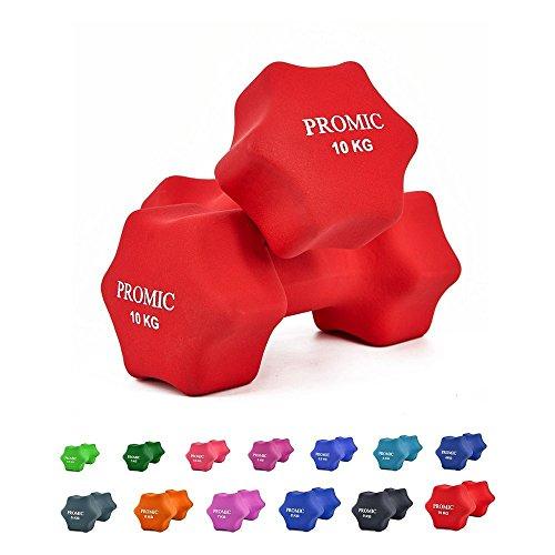 PROMIC  Neopren Hanteln Gewichte für Gymnastik Kurzhanteln- ideal für Aerobic & leichtes Fitnesstraining, 13 verschiedene Gewichte und Farben zur Auswahl (2er-Set), 2 x 10 kg, Rot
