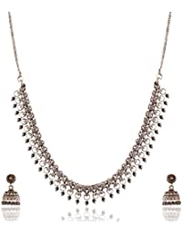 Ganapathy Gems Grey Metal Strand Necklace Set For Women (13274)