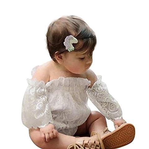 Neugeboren Säugling Baby Mädchen Niedlich Spitze Drucken Aus Schulter Prinzessin Spielanzug Kleider Hirolan Lange Hülse Baumwolle Mischung Overalls Für lässig, Täglich, Party oder Fotoshooting (Weiß, 90cm)