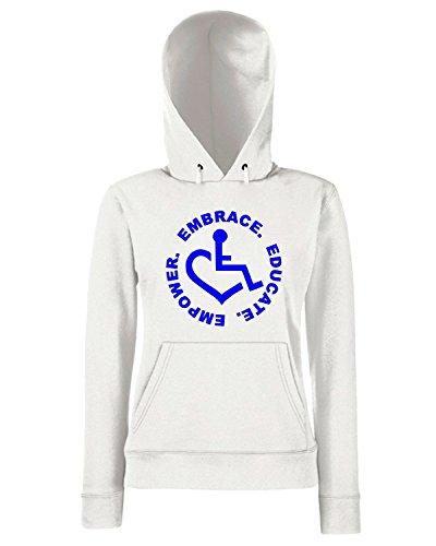 T-Shirtshock - Sweats a capuche Femme FUN0067 3e love embrace educate empower sticker 80183 Blanc