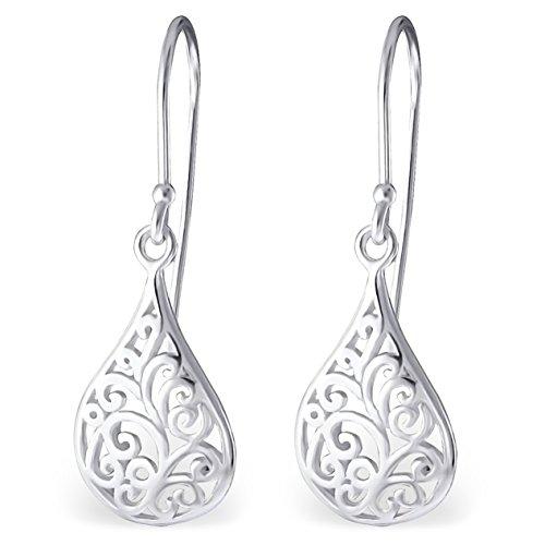 EYS JEWELRY Damen-Ohrhänger Träne Tropfen 925 Sterling Silber 30 x 10 mm Ohrringe