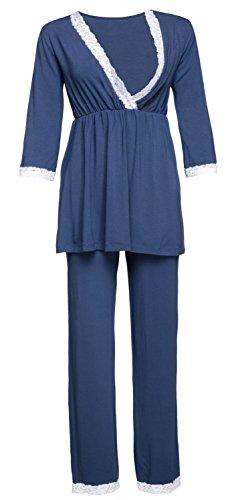 Happy mama. premaman vestaglia/camicia notte/pigiama venduti separatamente. 591p (blu grigio, it 44, l)