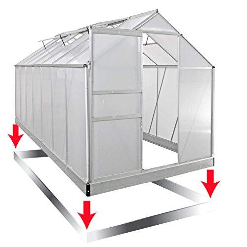 Aluminium Gewächshaus mit rostfreiem Stahlfundament 13,1 m³ Alu Gartenhaus 430x195x195cm Treibhaus Glashaus 6mm Platten