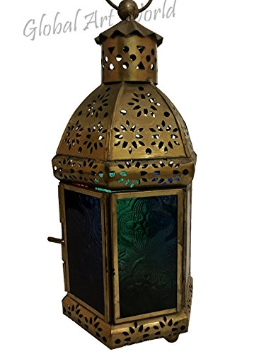 Antiques World Lovely Attractive Moroccan Style Classic Home Decor Hanging Lantern - Bronze Metal Lattice Dome Embossed Glass - Light Hanging Lamp/Lamps and Lighting AWUSAML 027