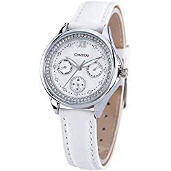Comtex Women's Quartz Watches with White Leather Strap Sub Dial Wrist Watch