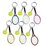 Missmore Tennisschläger Schlüsselbund Sport Stil Tennisball Schlüsselanhänger Großes Tennis Geschenk für Sportliebhaber, 6-Farben-Set