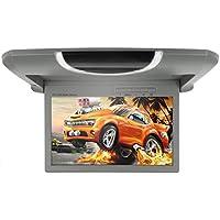 MiCarBa 22,9cm Flip Down Overhead Moniteur AV, 720p TFT LCD Ultra Mince Moniteur de Toit de Montage sur Le Toit de la Voiture (Cl913hd-gray)