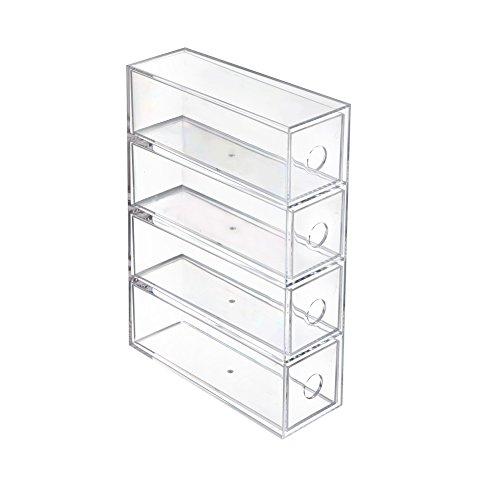 St.Oswalds Schubladen Organizer Brillenbox mit 4 Schubladen für Bad Kosmetik Schminke Schubladenbox auch für Büro Zubehör Kunststoff Transparent 2366